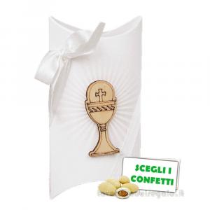 Portaconfetti bustina Bianco con Radiale e Calice in legno 7x2.5x11.5 cm - Scatole comunione