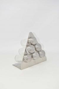 Holder Spices Triangular Steel Amc With 6 Jars H 16 Cm