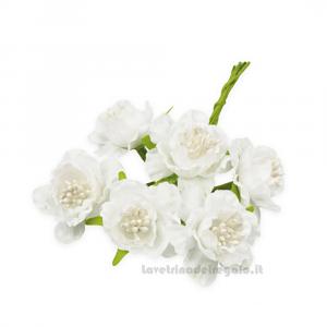 6 pz - Fiore artificiale Bianco rosellina con pistilli 3 cm - Decorazioni bomboniere