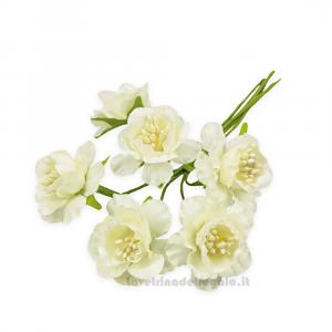 6 pz - Fiore artificiale Panna rosellina con pistilli 3 cm - Decorazioni bomboniere