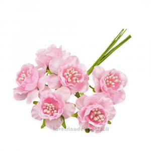 6 pz - Fiore artificiale Rosa rosellina con pistilli 3 cm - Decorazioni bomboniere