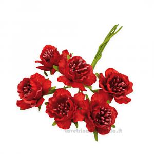 6 pz - Fiore artificiale Rosso rosellina con pistilli 3 cm - Decorazioni bomboniere