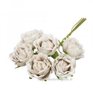 6 pz - Fiore artificiale Rosellina beige 3 cm - Decorazioni bomboniere