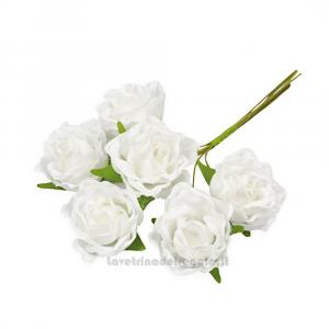6 pz - Fiore artificiale Rosellina bianca 3 cm - Decorazioni bomboniere