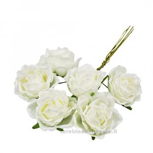 6 pz - Fiore artificiale Rosellina Panna 3 cm - Decorazioni bomboniere