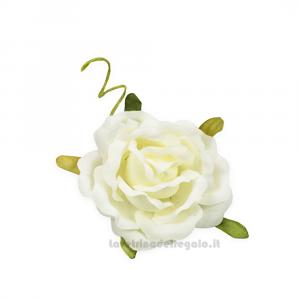 6 pz - Fiore artificiale Rosellina Panna media 4 cm - Decorazioni bomboniere