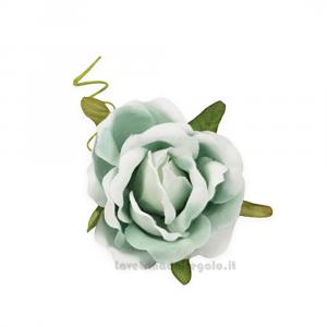 6 pz - Fiore artificiale Rosellina Verde media 4 cm - Decorazioni bomboniere