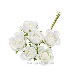 6 pz - Fiore artificiale Bianco Rosellina sfumata 3 cm - Decorazioni bomboniere