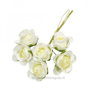 6 pz - Fiore artificiale Panna Rosellina sfumata 3 cm - Decorazioni bomboniere