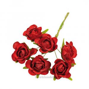 6 pz - Fiore artificiale Rosso Rosellina sfumata 3 cm - Decorazioni bomboniere