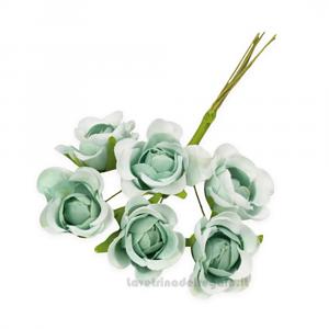 6 pz - Fiore artificiale Verde Rosellina sfumata 3 cm - Decorazioni bomboniere
