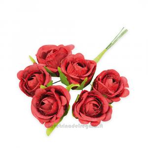 6 pz - Fiore artificiale Rosellina Vintage Rossa 3 cm - Decorazioni bomboniere