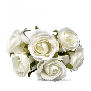 6 pz - Fiore artificiale Panna Rosellina media 3 cm - Decorazioni bomboniere
