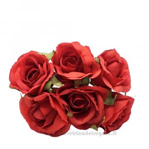 6 pz - Fiore artificiale Rosso Rosellina media 3 cm - Decorazioni bomboniere