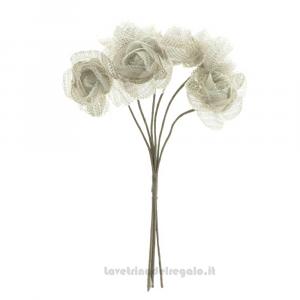 6 pz - Fiore artificiale Scintilla Argento - Decorazioni bomboniere