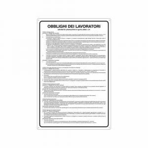 Cartello Obblighi dei lavoratori