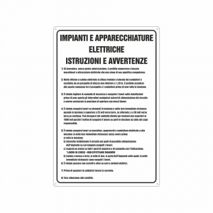 Cartello istruzioni uso impianti e apparecchiature elettriche