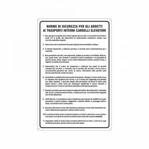Cartello Norme di sicurezza addetti ai carrelli elevatori