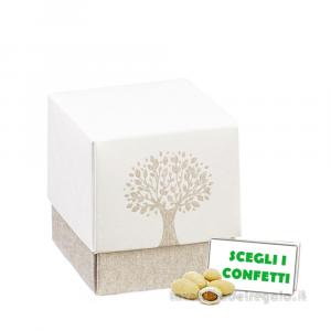 Portaconfetti cubo con Albero della Vita 5x5x5 cm - Scatole bomboniere
