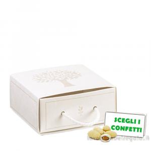 Portaconfetti rettangolare con Albero della Vita e cordoncino 9x4x9 cm - Scatole bomboniere