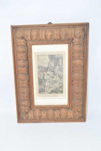Quadro Stampa Raffigurante Romani In Festa Con Cornice In Legno Antica 37 X 27 Cm
