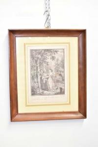 Quadro Stampa Due Dame Con Cornice A Gola In Legno Antica 44 X 38 Cm