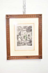 Quadro Stampa Raffigurante Mercato Del Pesce Cornice Antica In Legno 49 X 39 Cm