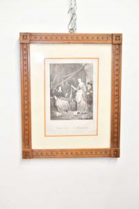 Quadro Stampa Raffigurante Mercato Della Carne Cornice Antica In Legno 49 X 39 Cm