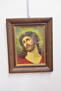 Quadro Stampa Raffigurante Gesù Cristo Con Cornice In Legno Antica 58 X 48 Cm