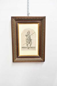 Quadro Stampa Raffigurante Un Cavaliere Cornice Antica Del 700 Dimensione 42 X 58 Cm