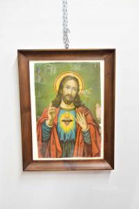 Quadro Stampa Raffigurante Cristo Con Cornice Antica A Gola In Legno, 48 X 62 Cm