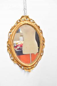 Specchio Antico In Legno Dorato In Foglia Oro Dimensione 64 X 46 Cm