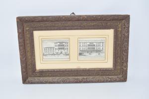Quadro Stampa Raffigurante Due Palazzi Di Treviso Cornice Antica 44 X 28 Cm