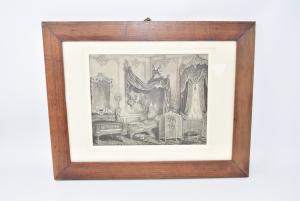 Quadro Stampa Raffigurante Una Camera Da Letto Antica Con Cornice In Legno 43 X 33 Cm