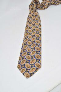 Cravatta Made In Italy La Seta 100% Seta Blu Arancione