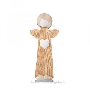 Statuina Angelo con cuore in gres e legno 16.5 cm - Bomboniera battesimo e comunione