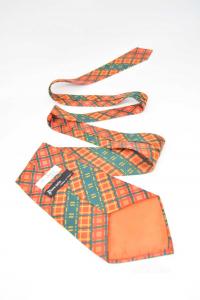 Cravatta Borzi Treviso Nuova In Pura Seta Verde Arancione