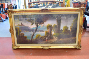 Quadro Dipinto Raffigurante Lago Con Castello Dimensione 140 X 80 Cm
