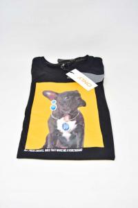 T-shirt Woman Only Sizexs Black New Print Bulldog