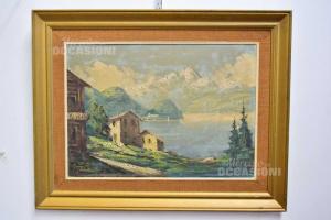 Quadro Casa Al Lago Paesaggio Montagna 73x93 Cm