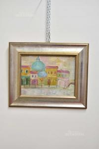 Quadro Case Colorate E Basilica Cornice Argentata 44x46 Cm