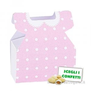 Portaconfetti vestitino Baby Birba Rosa 6x2.3x7 cm - Scatole battesimo bimba
