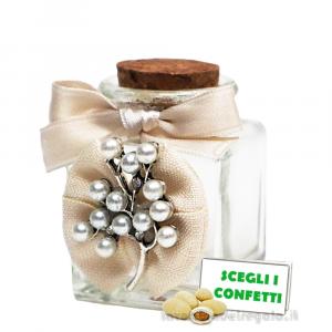 Barattolino portaconfetti con albero in perline Argento 4x4x6 cm - Contenitori nozze d'argento