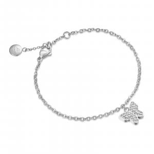 Luca Barra - Bracciale in acciaio con farfalla e cristalli bianchi