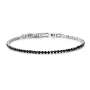 Luca Barra - Bracciale Tennis in acciaio con cristalli neri