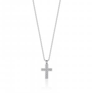 Luca Barra - Collana in acciaio con croce e cristalli bianchi