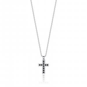 Luca Barra - Collana in acciaio con croce e cristalli neri