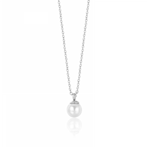 Luca Barra - Collana in acciaio con perla da 6 mm