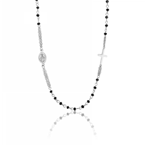 Luca Barra - Collana rosario in acciaio con cristalli neri
