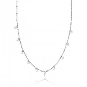 Luca Barra - Collana in acciaio con cristalli bianchi